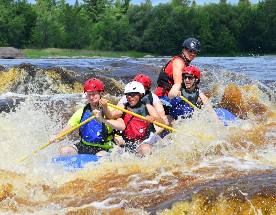 splashing through rapids