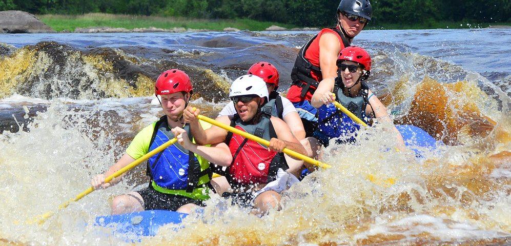 splashing through rapids